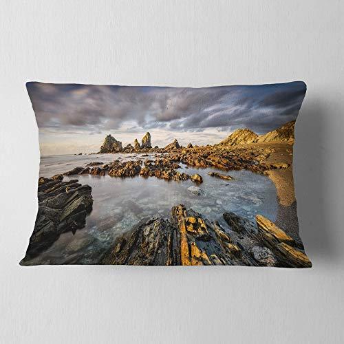 Designart CU9230-12-20 Atlantic Coast in Spain' Seashore Photography Throw Pillow, 12'' x 20'' by Designart