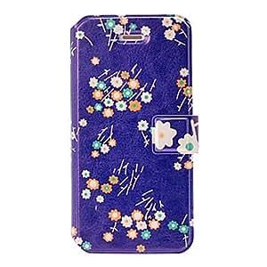 Moda fresca pequeña Crisantemo patrón de caja de cuero azul con ranuras de soporte y tarjeta para el iphone 5/5s