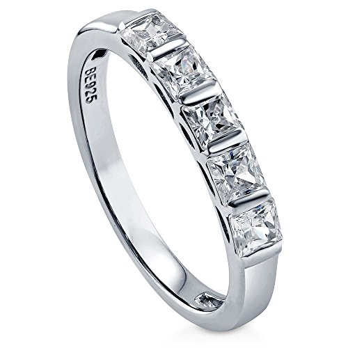 BERRICLE Rhodium Plated Sterling Silver Princess Cut Cubic Zirconia CZ 5-Stone Anniversary Wedding Band Size 9