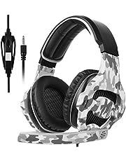 SADES SA810 auriculares sobre el oído estéreo auriculares de juegos auriculares de juego bajo con micrófono para Xbox One PC PS4 nuevo teléfono portátil (camuflaje)