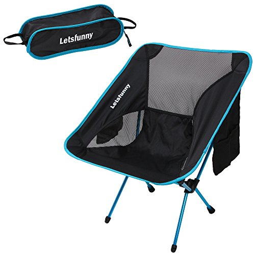 LetsFunny Ultralight Portable Foldable Camping Backpacking Chairs with Carry Bag, Lightweight Breathable and Comfortable Folding Picnic Chair,Perfect for Hiking/Fishing/the Park/Sports
