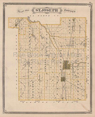 St. Joseph La Porte County Indiana Vintage Map Baskin 1876 Original Indiana Decor History Gift