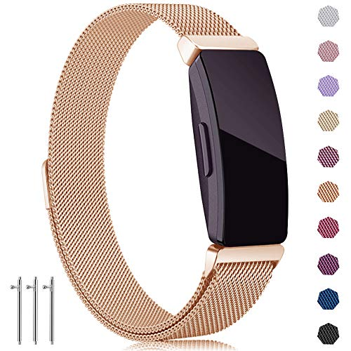 findway Compatible with Fitbit Inspire HR Bands/Inspire Band, Inspire Accessories Stainless Steel Magnet Bracelet Women Men Wristbands Strap Compatible for Fitbit Inspire & Inspire HR Fitness Tracker (Watch Mesh Wrist Gold)