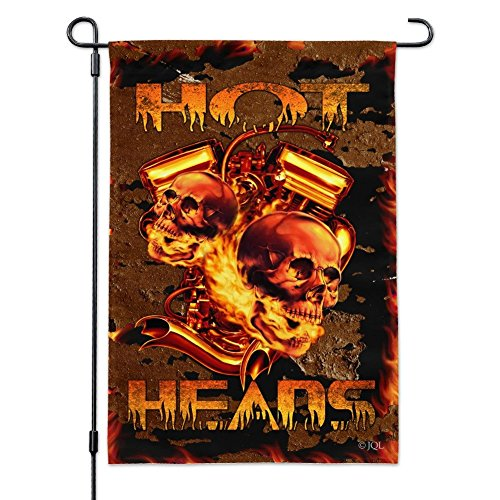 Piston Pol (Graphics and More Hot Heads Pistons Skulls Biker Motorcycle Chopper Garden Yard Flag with Pole Stand Holder)
