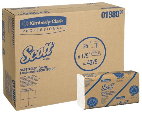 Scott 01960 SCOTTFOLD Paper Towels, 7 4/5 x 12 2/5, White, 175 Towels per Pack (Case of 25 Packs) by Scott (Image #1)