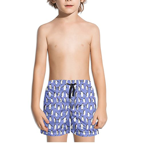 TylerLiu Penguin Cartoon Pattern Background Kids Boy's Fast Drying Beach Swim Trunks -