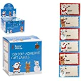 PACK OF 150 Self Adhesive STICKY Christmas Character Cute GIFT LABELS