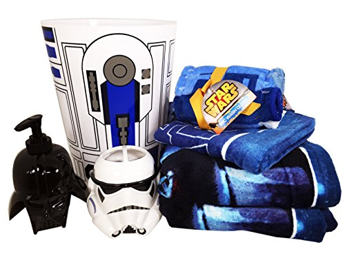 Star Wars Bathroom Set with 2 Bath Towels, 1 Hand Towel, 6 Washcloths, Toothbrush Holder, Soap Dispenser and