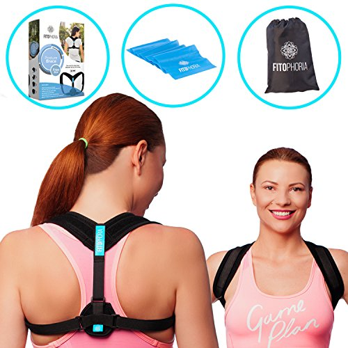 Comfortable Posture Corrector for Women & Men + Resistance Band – Adjustable Clavicle Brace for Upper Back Pain Support and Hunchback Correction by Fitophoria.