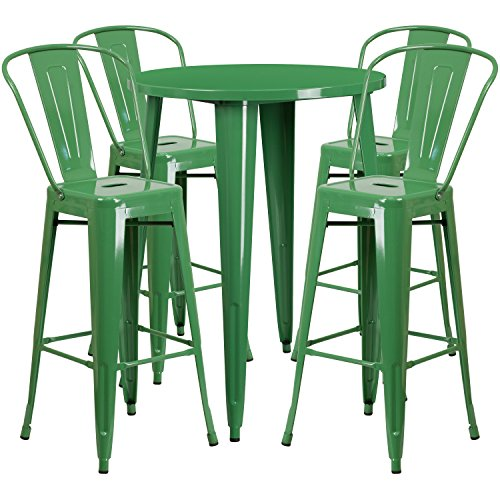 Set Stool Bench - Flash Furniture 30'' Round Green Metal Indoor-Outdoor Bar Table Set with 4 Cafe Stools