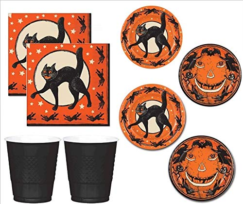 Vintage Halloween Party Supplies Plates Napkins Cups 16 Guests for $<!--$17.95-->