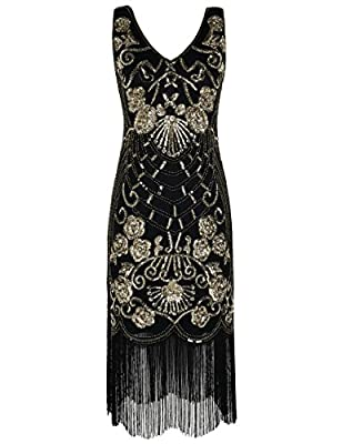 PrettyGuide Women's Flapper Dress Vintage Sequin Art Deco Cocktail 1920s Gatsby Dress