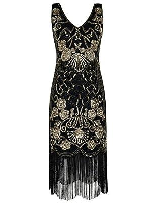 PrettyGuide Women's Flapper Dress Vintage Sequin Art Deco Cocktail 1920s Gatsby Dress