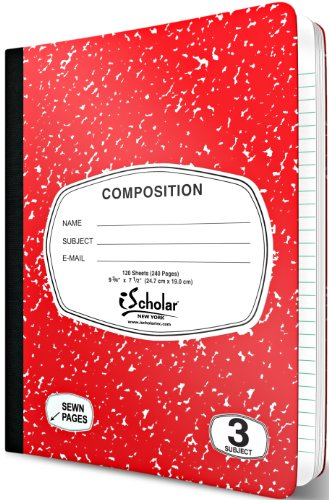 iScholar 3-Subject Colored Marble Composition Book, 120 Sheets, Wide Ruled, 9.75 x 7.5-Inches, Cover Color May Vary (18113) Photo #4