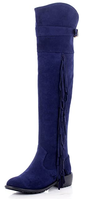 Aphnus Genuine Leather Over Knee Boots Tassels Boots