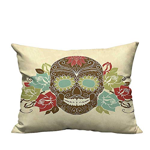 YouXianHome Sofa Waist Cushion Cover Skull and ROS Colorful Vintage Smiling Gothic Face istic Multicolor Decorative for Kids Adults(Double-Sided Printing) 19.5x30 inch