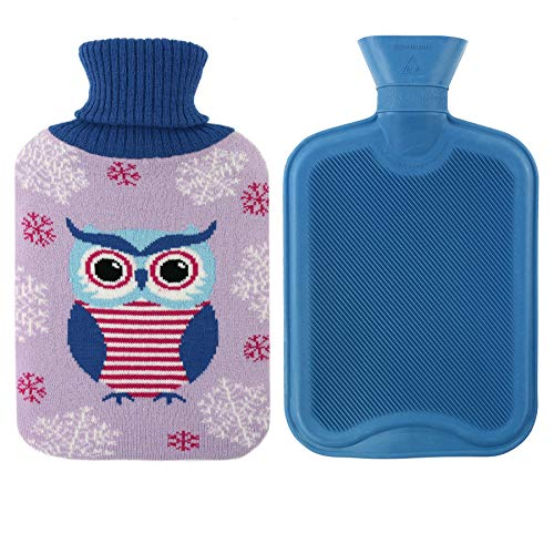 Hot Water Knitted Bottle Cover - Athoinsu Durble Rubber Hot Water Bottle Knitted with Adorable Owl Cover Christmas Gift 2 Liter, Purple