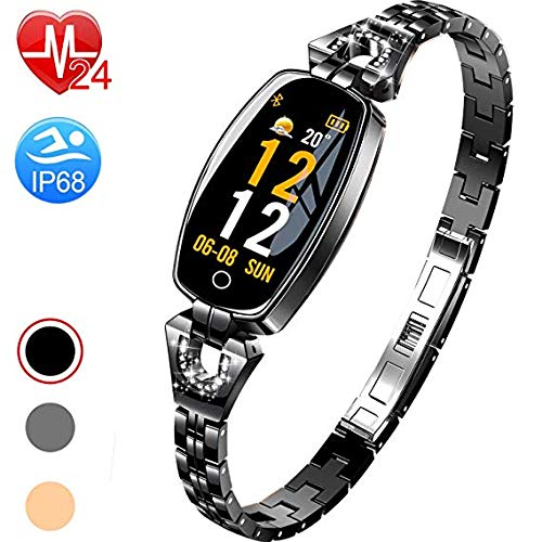 Boens Fitenss Band,Shiny Fashion Smart Watch Elliptical LED Display Sports Band with Pedometer Calorie Burning Sleeping Heart Rate Monitor Blood Pressur Fits Travel Photo Office Exercise(Black) ()
