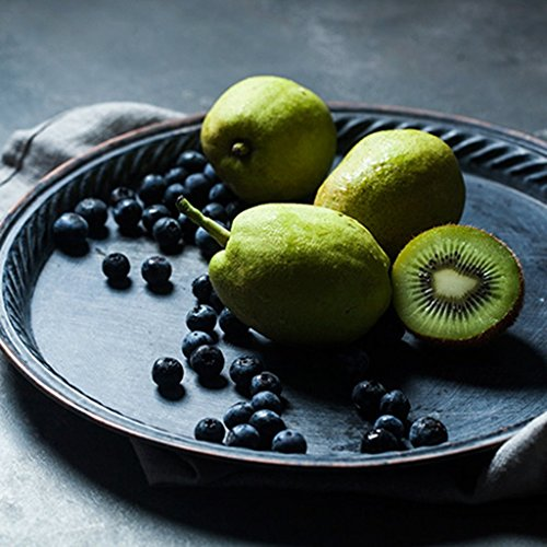 He Xiang Ya Shop Iron Flat Plate Home Breakfast Large Tray Fruit Cake Tray Water Cup Tray Black Dinner Plate 12 inches by He Xiang Ya Shop (Image #3)