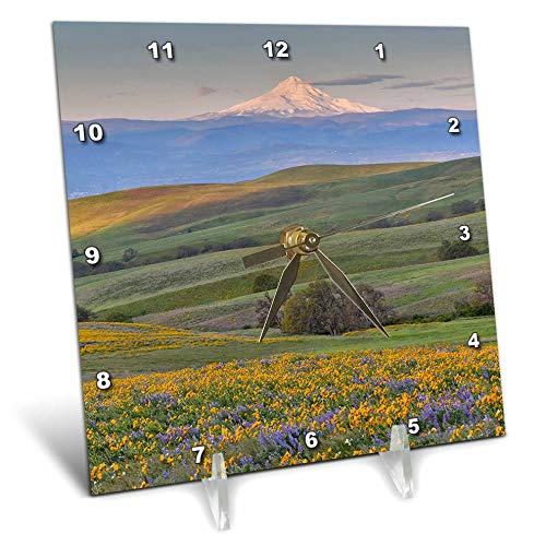 (3dRose Danita Delimont - Washington - Sunrise and Mt. Hood Near Dalles Mountain Ranch SP, Washington State - 6x6 Desk Clock (dc_315134_1))