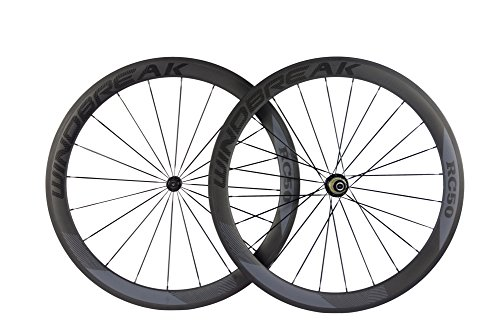 Sunrise Bike Carbon Road Wheels 700C 50mm Clincher Wheelset 3k Matte Finish with Decal