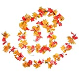 DearHouse 78'' Artificial Maple Leaf and Pumpkins Garland Decorated Maple Leaf Garland Vine with Pumpkin Plants Hanging Rattan for Home Kitchen Wreath Wedding Decor