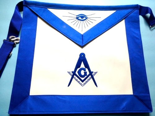 Blue Lodge Master Mason Royal Blue Silky Satin Apron by Equinox MR by Equinox