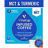 VitaCup Genius Coffee Pods 16ct with MCT, Turmeric, Vitamins, Cinnamon, Keto|Paleo|Whole30 Friendly, B12, B9, B6, B5, B1, D3, Compatible with K-Cup Brewers Including Keurig 2.0, Top Rated Cups