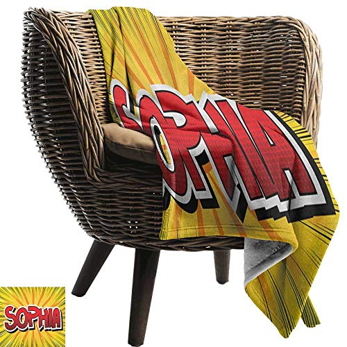 (Sunnyhome Sophia,Warm Microfiber All Season Blanket,One of The Most Popular Girls` Given Names in Western World Retro Comic 60