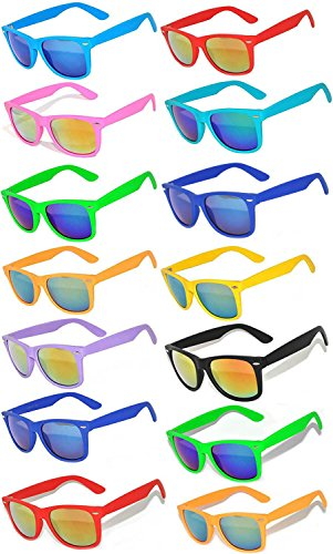 Wholesale Bulk Matte Colored Mirrored Lens Sunglasses 14 pairs OWL (Plastic Wayfarer Sunglasses)