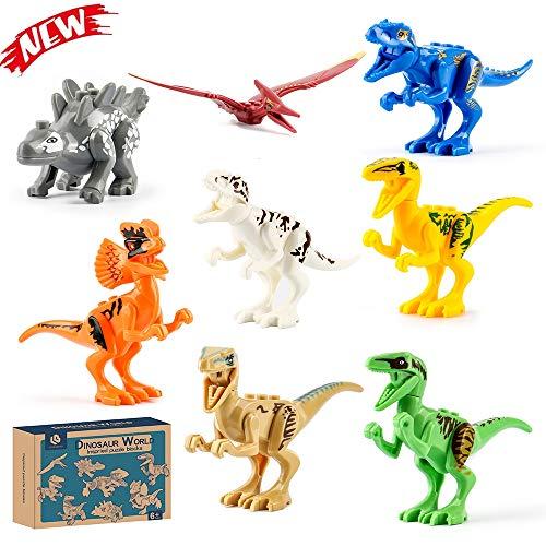 Lehoo Castle Dinosaur Building Blocks 8pcs, Dinosaur Toys for 3 Year Olds, Mini Dinosaur Toys Jurassic World,Dinosaur Action Figure Building Block, Dinosaur Party Favor