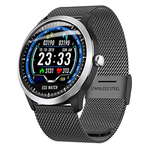 vmree N58 Women Men 1.22Inch ECG Display Smart Watch Blood Pressure Heart Rate Monitor 3D UI Sports Fitness Activity Tracker for iPhone Android Phone (Black - Stainless Steel Strap)