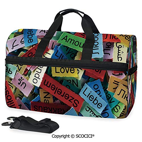 Medium Weekend Duffel Bag Love Word Cloud Collection in Different (One Size) Collection Deluxe Wheeled Duffel