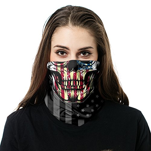 Face Sun Mask, Protects Against Sun, Wind or Cold - Good for Men and Women - Neck Gaiter, Face Mask, Multi functional, Magic Headwear, Face Wrap (Freedom - What Are Glasses Buffs