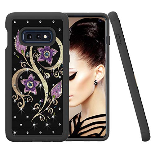 - Samsung Galaxy S10e Case, COTDINFORCA Rhinestone Bling Diamond Case Shock Absorption Heavy Duty Protective Dual Layer Silicone Plastic Cover for Samsung Galaxy S10e (2019). 2 in 1 - Peacock Flower