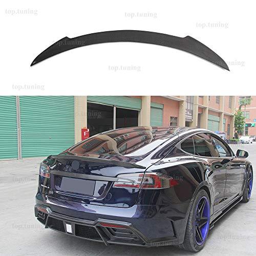 FidgetKute Boot Lip for Tesla Model S Carbon Fiber Gloss Finish Spoiler Revo Style 2014 15+ ()