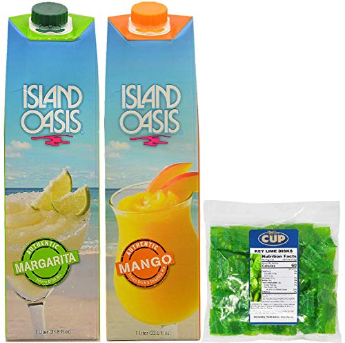 By The Cup Cocktail Mixer Bundle, 1 Margarita and 1 Mango Island Oasis Drink Mix, 1 Liter Cartons plus 6 Oz Bag BYTC Key Lime Discs -