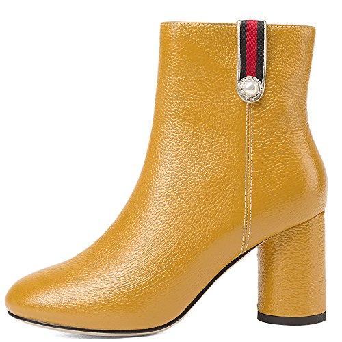Nio Sju Äkta Läder Womens Rund Tå Chunky Häl Tillfälligt Arbete Handgjorda Fotled Tossor Gul