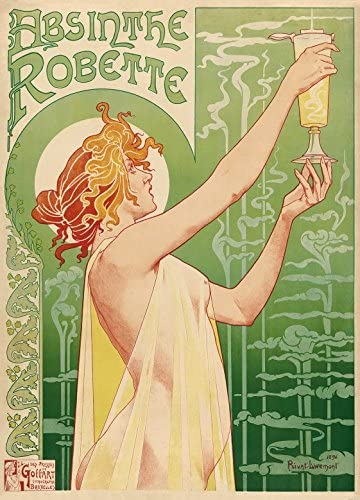 Amazon Com 1art1 Historical Advertisement Poster Adhesive Photo Wallpaper Green Fairy Absinthe Robette Henri Privat Livemont 1896 2 Parts 98 X 71 Inches Kitchen Dining