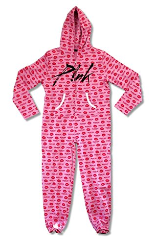 (Pink P!NK Blow Me One More Kiss Adult Zip Jumper Pajama Suit (Small))