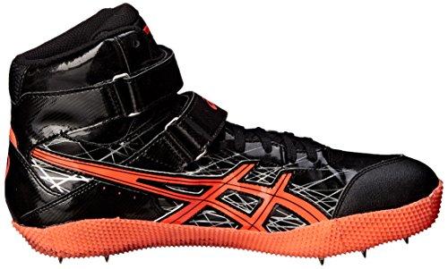 Asics Mens Javelin Pro Track Scarpa Nera / Flash Corallo / Argento