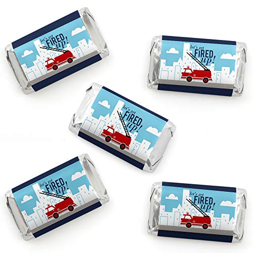 Fired Up Fire Truck - Mini Candy Bar Wrapper Stickers - Firefighter Firetruck Baby Shower or Birthday Party Small Favors - 40 Count