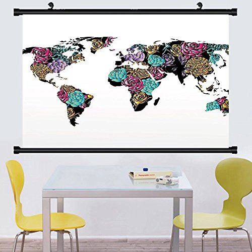 - Gzhihine Wall Scroll Earth World Map with Elegance Rose Flowered Continents Shabby Chic Thematic Petals Design Wall Hanging Multicolor 24