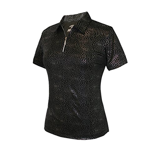 Monterey Club Ladies Dry Swing Firework Foil Solid Shirt #2441(Black,Large)