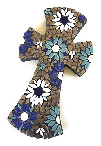 Mosaic Tile Flower Wall Cross large Ceramic Teal, Blue and