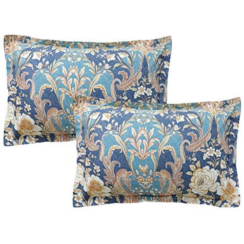 (TEALP Paisley Print Pattern Pillowcases Cotton Decorative Pillow Covers, 2 Pcs)