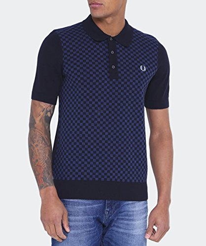 Fred Perry Tonal Knitted Shirt Navy, Polo