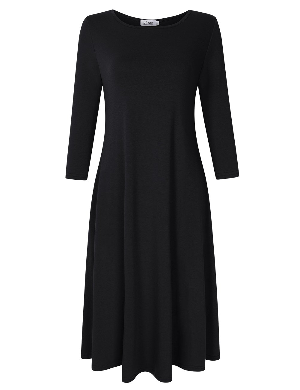 MISSKY Black Dresses for Women Long Sleeve Pocket Plus Size Swing Casual Dresses for Women Black L by MISSKY