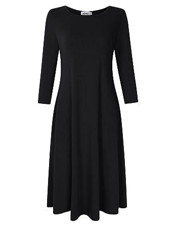 ea020c7df MISSKY Women's Scoop Neck 3/4 Long Sleeve Midi Dress Loose Swing Casual  Dress with