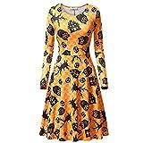 Womens Long Sleeves Casual A-line Halloween Pumpkin Dress Cocktail Dress (S, C)